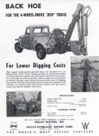Jeep CJ Earth Back Hoe Tractor PTO Farm Implements