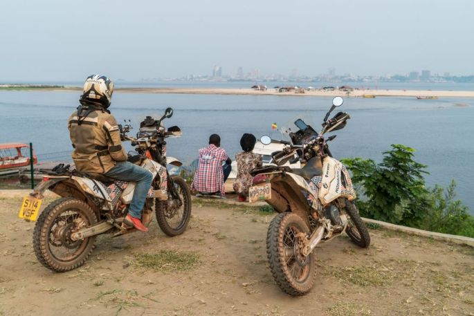 From the banks of the mighty Congo, the view from Brazzaville to Kinshasa. Kinshasa was in the end further than the few kilometers across the river.