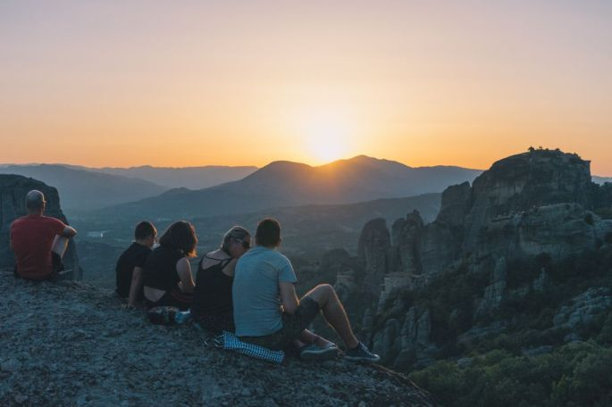 The amazing scenery of Meteora during the sunset.