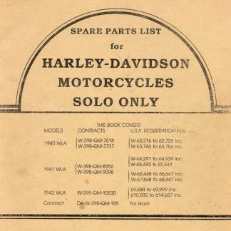 1940-1942 WLA Solo Parts Catalog