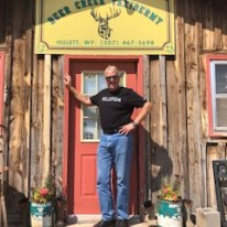 Mike in front of a taxidermy store