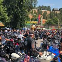 Hundreds of motorcycles gathering in Sturgis