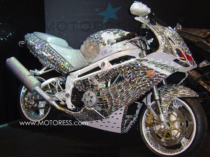 Swarovski Crystal Covered Motorcycle on MOTORESS