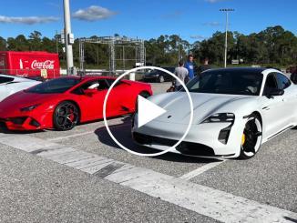 Drag Race: Porsche Taycan Turbo S Vs. Lamborghini Huracan Evo