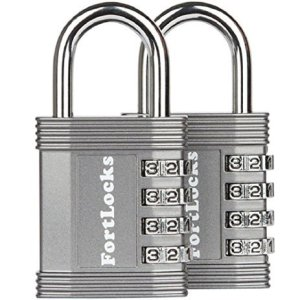 FortLocks 4 Digit Waterproof Combination Lock, Gym Locker, Outdoor and School Locker. Heavy Duty and Resettable