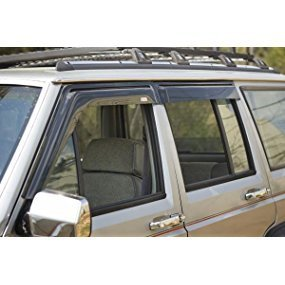 Rugged Ridge Smoked Acrylic Front and Rear Car Window Rain Guards, wind deflector for trucks roof