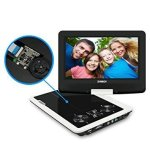 SYNAGY portable DVD player attached to headrest with swivel screen and rechargeable battery