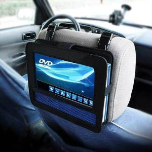 A headrest mounted portable auto video player