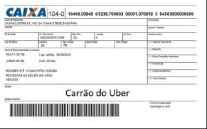 boleto carro uber
