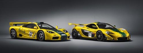 Die Schokoladenseite des F1 GTR (links). Aus dieser Perspektive wirkt er eher wie der kleine Bruder des P1 GTR (rechts), nicht wie sein Ahnherr. (Werksfoto)