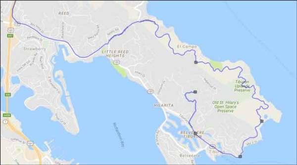 Streckenplan für den Paradise Drive in Tiburon im Rahmen der Motorradtour auf den Mt. Diablo in Kalifornien