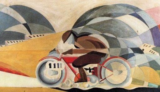 Motorradfahrer mit hoher Geschwindigkeit