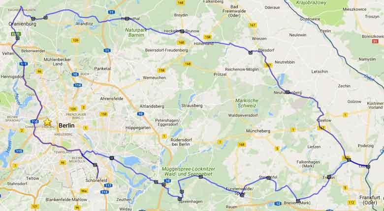 Streckenplan der Motorradtour Spree Oderland
