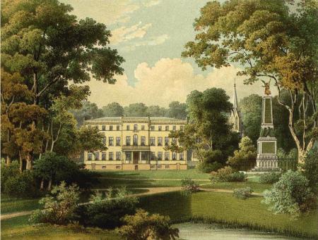 Ansicht von Schloss Tamsel in der Neumark mit Park und Viktoria-Statue im 19. Jahrhundert