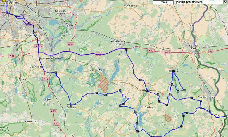 Streckenplan einer Motorradtour in die Niederlausitz