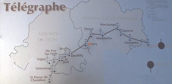 Telegraphenlinie durch das Beaujolais mit mehreren Telegraphenstationen