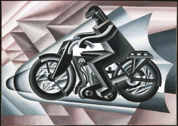 """Fortunato Depero: """"Motorradfahrer"""", als Beispiel für die Bedeutung der Konzentration beim Motorradfahren"""