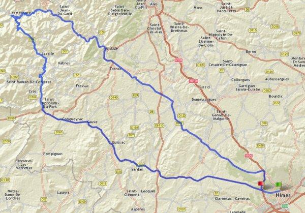 Rundkurs einer Motorradtour durch die Cevennen