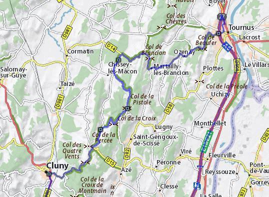 Streckenplan einer Motorradtour durch Burgund mit 6 wunderbaren Pässen in Burgund zwischen Cluny und Tournus