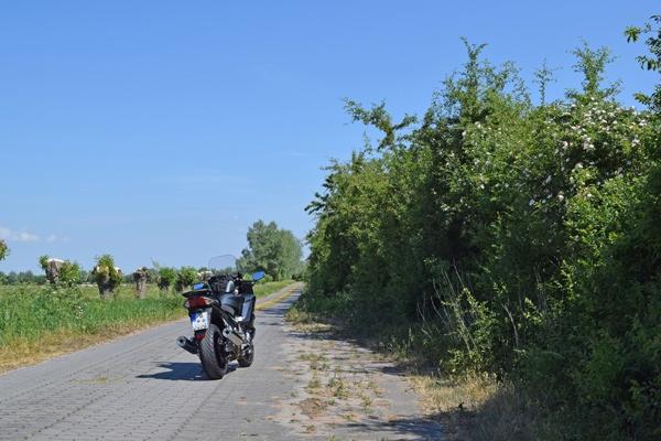 Einsamkeit auf einer Motorrad-Hausrunde ins Abseits: Motorrad Yamaha FJR 1300 auf einem Plattenweg im Vogelschutzgebiet Naturpark Westhavelland bei einer Motorrad-Hausrunde im Abseits