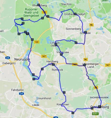 Streckenplan der Motorradtour im Land Ruppin