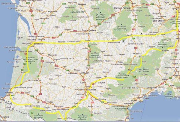 Streckenkarte der Motorradtour Südwestfrankreich Lyon Bordeaux Biarritz Carcassonne Toulouse Lyon