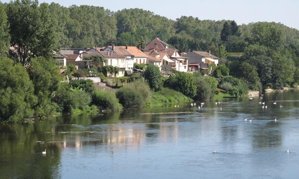Dordogne Übergang bei Lalinde in Südwesrfrankreich mit dem Dorf am bewaldeten Ufer und weißen Schwänen auf dem Fluss