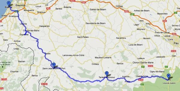 Streckenkarte 10. Etappe Motorradtour Südwestfrankreich 2 von Biarritz nach Arudy