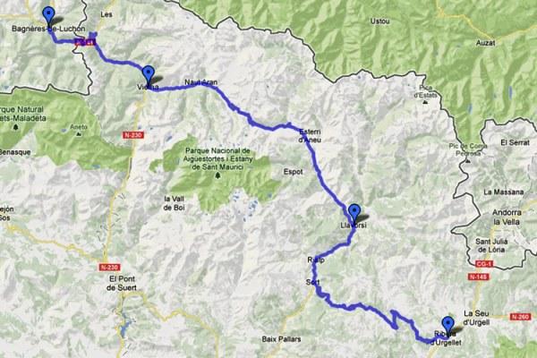 Streckenkarte 13. Etappe Motorradtour Südwestfrankreich Teil 2 in den Pyrenäen von Bagnères-de-Luchon in Frankreich zum El Cantó in Katalonien