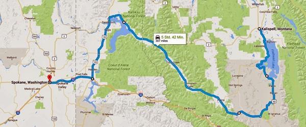 Streckenkarte der 11. Etappe einer Motorradtour durch die Rocky Mountains von Kalispell, MT nach Spokane, WA