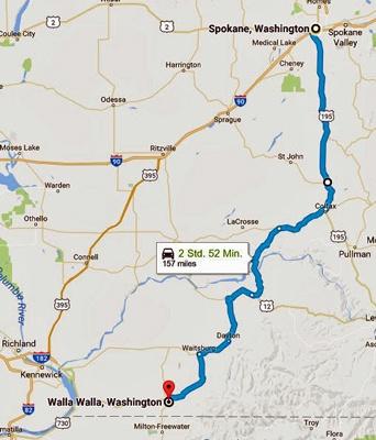 Streckenkarte der 12. Etappe einer Motorradtour durch die Rocky Mountains von Spokane, WA nach Walla Walla, WA