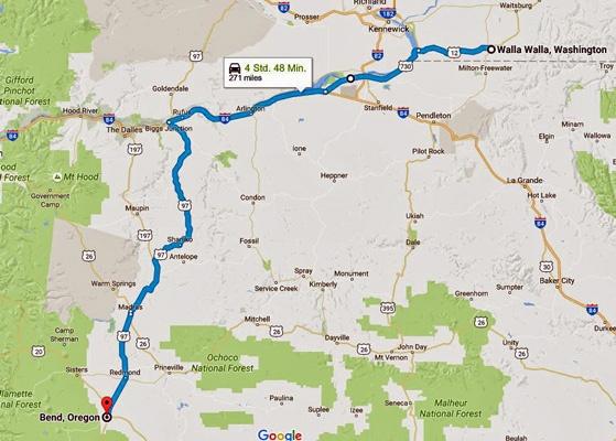 Streckenkarte der 13. Etappe einer Motorradtour durch die Rocky Mountains von Walla Walla, WA nach Bend, OR
