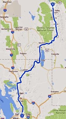 Streckenkarte der 6. Etappe einer Motorradtour durch die Rocky Mountains von Salt Lake City, UT nach Alpine, WY