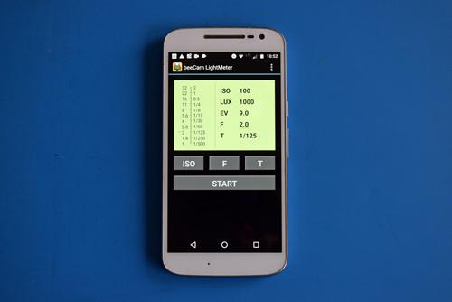 Startbild der Smartphone-App beeCam als Belichtungsmesser für die analoge Fotografie