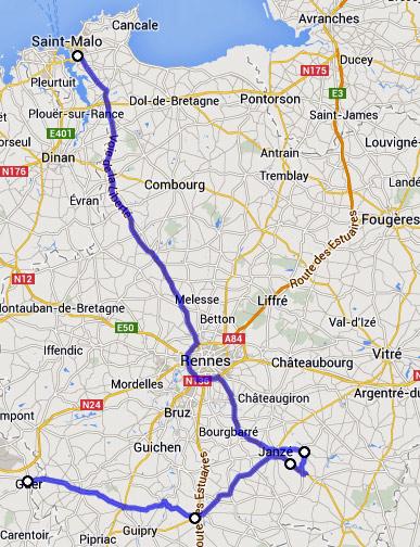 Streckenplan 11. Etappe einer Motorradtour durch Frankreich an den Atlantik von Guer/Paimpont nach St-Malo