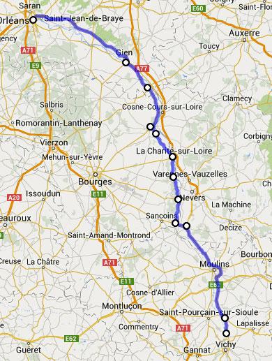 Streckenplan 16. Etappe Motorradtour durch Frankreich an den Atlantik von Orléans nach Vichy
