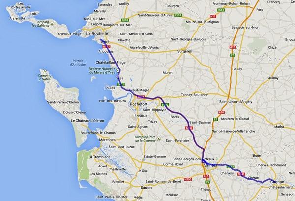 Streckenplan einer Motorradtour durch Frankreich an den Atlantik von Cognac nach La Rochelle