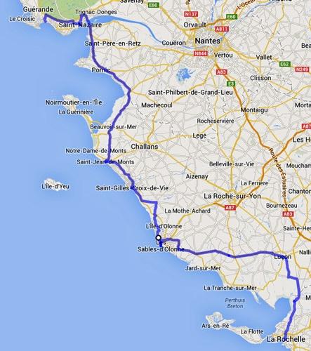 Streckenplan 4. Etappe Motorradtour durch Frankreich an den Atlantik von La Rochelle nach La Baule