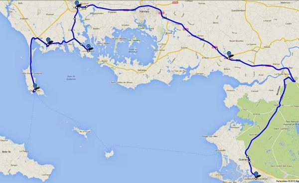 Streckenplan 7. Etappe Motorradtour durch Frankreich an den Atlantik von La Baule nach Carnac