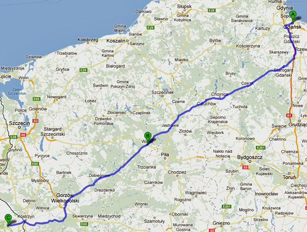 11. Etappe Danzig-Seelow einer Motorradtour von Moskau nach Lyon