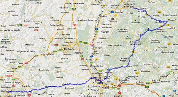 16. Etappe Freiburg-Montbéliard einer Motorradtour von Moskau nach Lyon