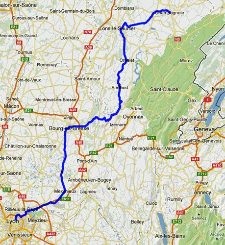 18. Etappe Champagnole-Lyon einer Motorradtour von Moskau nach Lyon