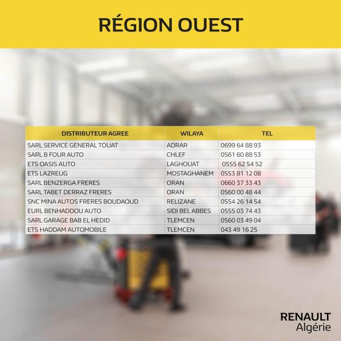Renault Algérie - liste des ateliers agréés ouverts à travers le territoire national