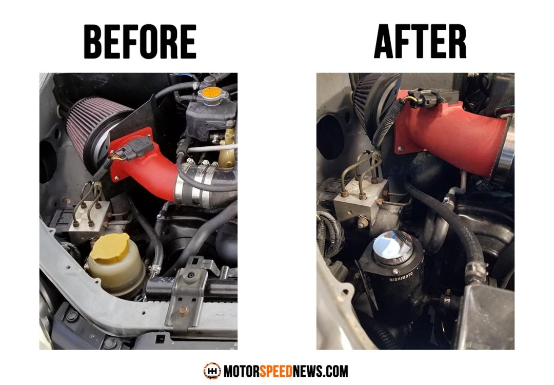Mishimoto Power Steering Reservoir - Before and After