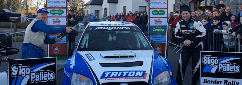 Motorsport.ie Monaghan's Niall Maguire and Enda Sherry celebrate winning Mayo Stages 2015