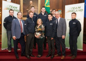 James, far right, with the other participants and organisers of the Team Ireland Foundation at the Mansion House in Dublin yesterday.