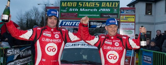 Winners of the Hotel Ballina/Kennedy Motors Mayo Rally, round one of the Triton Showers National Rally Championship, Garry Jennings (left) and Rory Kennedy. Picture: Martin Walsh
