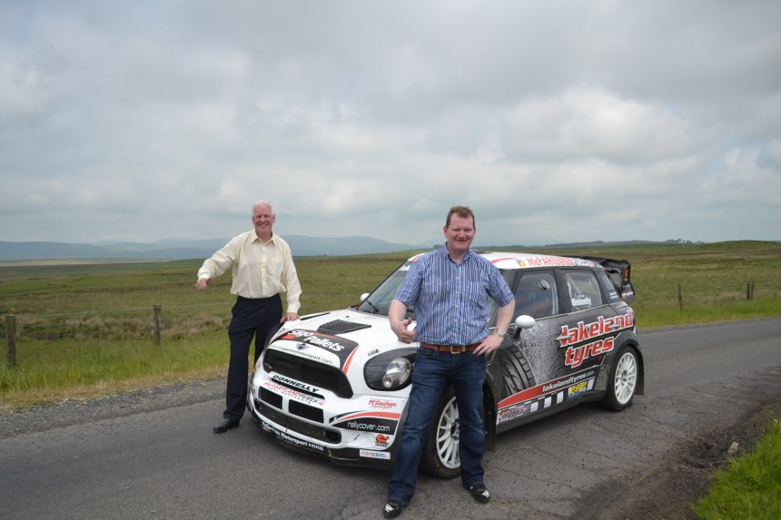 Eugene Donnelly (r) and co-driver Paddy Toner with the Lakeland Tyres Mini WRC