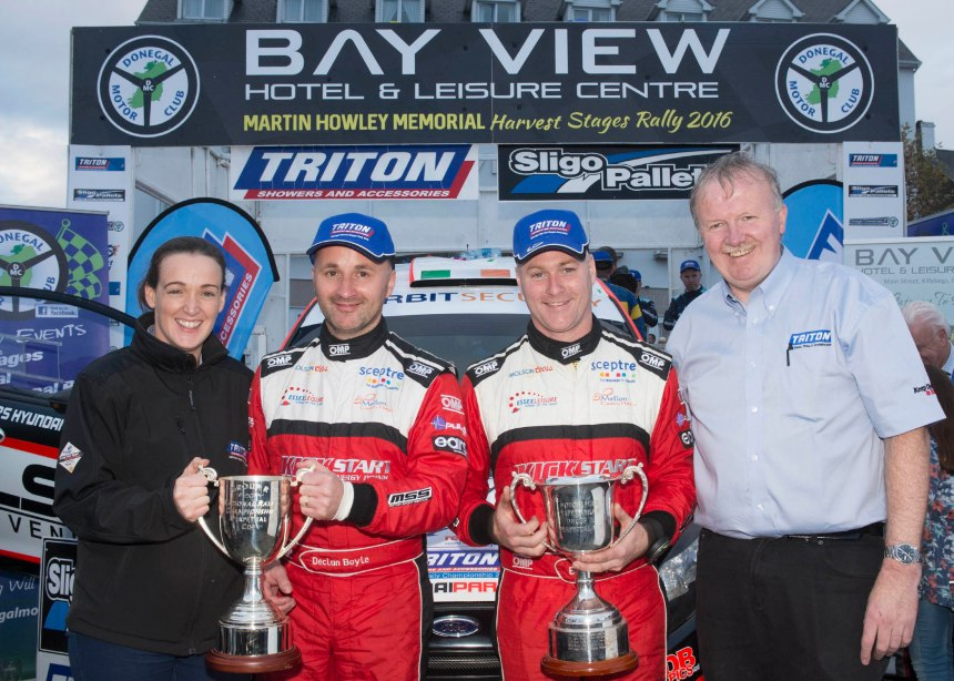Donegal cousins Declan Boyle and Brian Boyle (centre) took their Fiesta WRC to a start to finish victory Martin Howley Donegal Harvest Rally in Killybegs, the final round of the Triton Showers National Rally Championship, they are pictured with Laura McMenamin and Richard Talbot.
