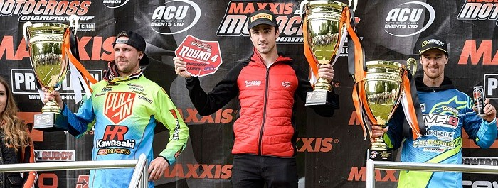 Graeme Irwin takes his place on the top step of the MX1 podium Picture: Nuno Laranjeira